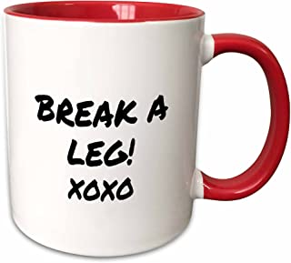 3dRose 195571_5 Break A Leg Xoxo Theater, Actor, Show Business Good Luck Message Note Two Tone Red Mug 11 oz