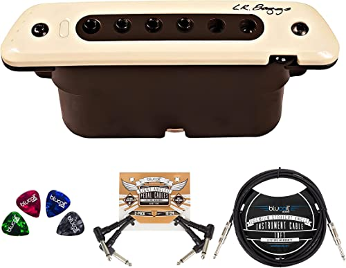 new arrival L.R. Baggs M80 Acoustic Guitar Magnetic Soundhole Pickup Bundle with Blucoil 2-Pack of Pedal online Patch Cables, 10-FT Straight Instrument Cable (1/4in), and 4-Pack outlet online sale of Celluloid Guitar Picks sale