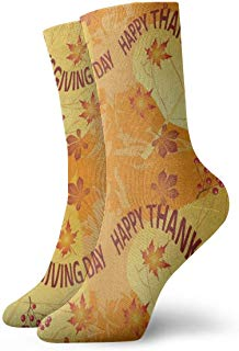 Crew Socks Happy Thanksgiving Orange Fall Maple Leaf Athletic Socks Unique Anti Bacterial Odor Cushion Short Boot Stocking