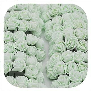 Memoirs- 36/72/144Pcs 2Cm Decorative Teddy Bear Rose Pe Foam Artificial Flower Bouquet for Home Wedding Decoration DIY Wreath Fake Flower,Light Green,144Pcs