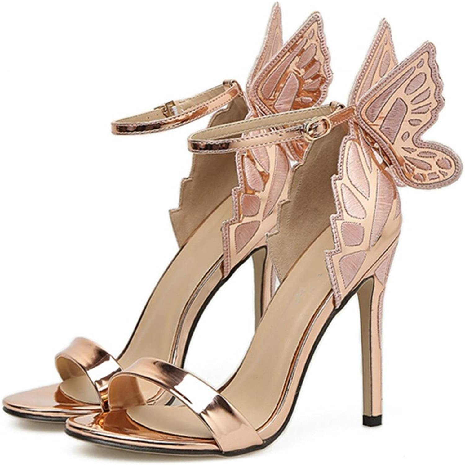 European sexy fashion Embroidered three-dimensional butterfly Fine with high-heeled sandals