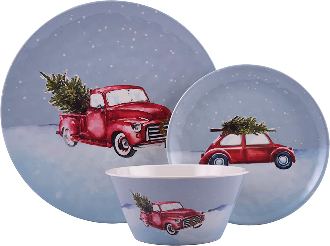 Melange 608410091481 12 Piece 100 Dinnerware Set For 4 Christmas Collection Tree On Van Shatter Proof And Chip Resistant Melamine Dinner Plate Salad Plate Soup Bowl 4 Each 10 5 White