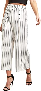 Striped Wide Leg Cullotte with Button Detail For Women Closet by Styli