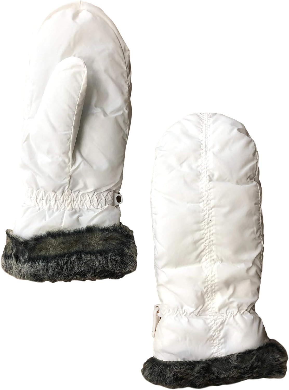 Womens White Nylon Ski & Snow Mittens With Faux Fur Trim