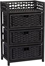Household Essentials Hand-Woven Paper Rope 3-Drawer Chest, Black Stain