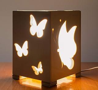 """Lampada da tavolo in legno con""""Farfalle"""""""