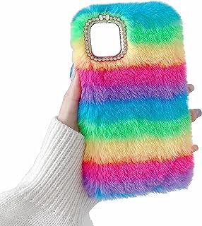 Miagon Cute Fluffy Colorful Case for Xiaomi Mi 11,Girls Women Furry Rabbit Faux Winter Fur Case Soft Silicone Shockproof C...