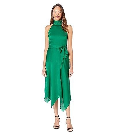 Vince Camuto Mock Halter Neck Hammer Satin Belted Dress (Everglade) Women