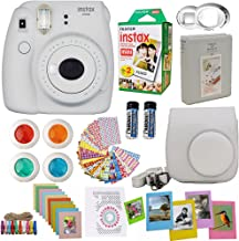 Fujifilm Instax Mini 9 Instant Camera Smokey White + Fuji Instax Film Twin Pack (20PK) + Camera Case + Frames + Photo Album + 4 Color Filters and More Top Accessories Bundle