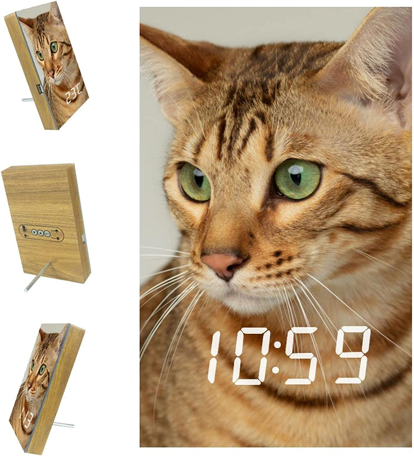 Manufacturer direct delivery Indimization Digital Alarm Clock 5 ☆ popular Lovely Pictures Brown with Cat