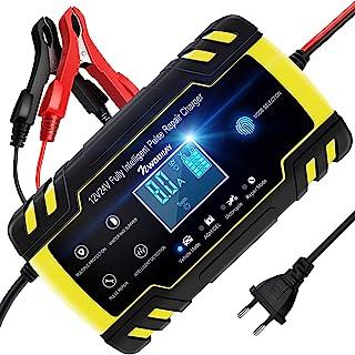 NWOUIIAY Chargeur de Batterie Intelligent Portable 8A 12V/24V avec LCD Tactile Écran Protections Multiples Type de réparat...