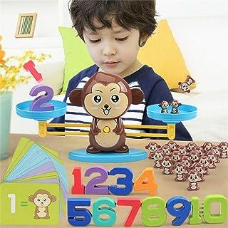 Deeabo 65 Piezas Juguete De Balanza Digital De Mono, Balanza De Mono Juego De Matemáticas Equilibrio De Aprendizaje Temprano Infantil Suma Digital Sustracción Balanza Matemática Juguetes Para Niños