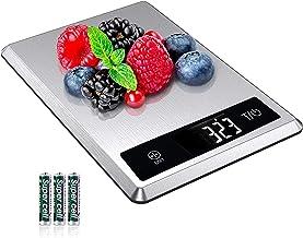 AIRMSEN Balance de cuisine numérique avec fonction de tare, 11lb Balance alimentaire en acier inoxydable 304 LCD, 5 unités...