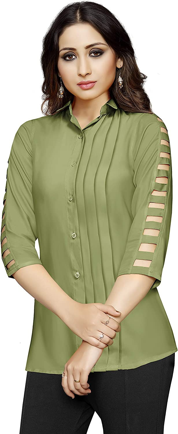 Cheap sale Venisa Women's Casual Rayon 3 4 Top Blouse Sleeve Tunic 70% OFF Outlet In Fancy