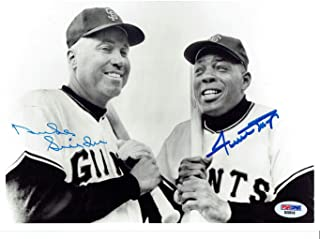 WILLIE MAYS(Giants)/ DUKE SNIDER (Giants) signed 8x10 photo-# D20510 - PSA/DNA Certified - Autographed MLB Photos