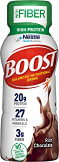 Boost High Protein with Fiber Balanced Nutritional Drink, Rich Chocolate, 8 fl oz Bottle, 24 Pack