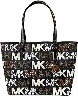 Michael Kors Jet Set Travel Medium Carryall Tote Graffiti Negro Gráfico MK Logo Multi