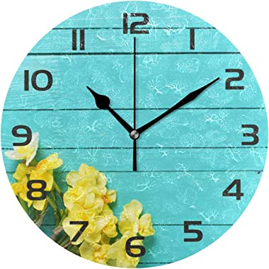 One Bear Vintage Teal Wall Clocks Battery Operated Non Ticking, Rustic Yellow Narcissus Daffodil Flowers Turquoise Green Wood