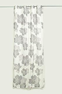 HTE Cortina Estampada de Flores, Visillo Translucido Decorativo para Salón y Habitación, 1 Panel, 140x260cm (Morado)