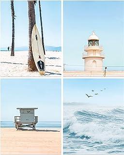 KAIRNE Tableaux Décoratifs de Plage,Poster de Paysage Marin,Image D'art de Planche de Surf pour Salon,Affiche de Vague Océ...