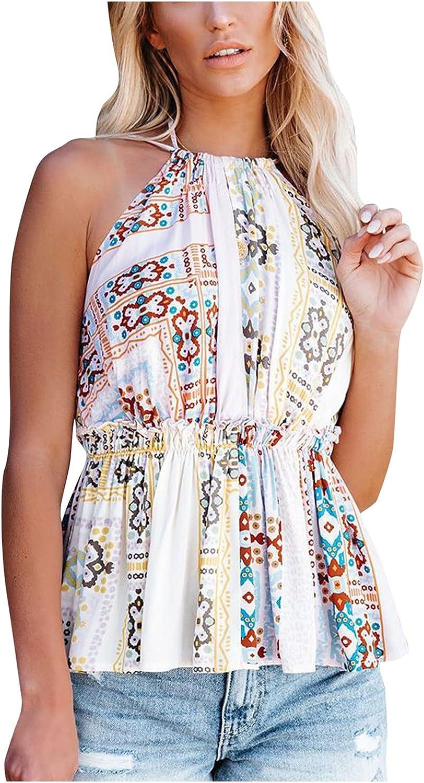 Women's Sexy Printed Floral Boho Halterneck Halterneck Top