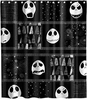 Nightmare Before Christmas Shower Curtain Halloween Decor Theme Fabric Bathroom Decorative Sets with Hooks Waterproof Washable 72 x 72 inches Black White Grey