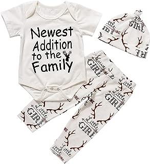 Imsmart Newborn Suit for Baby Shower Deer Print Long Sleeve Romper+Long Pants+Hat