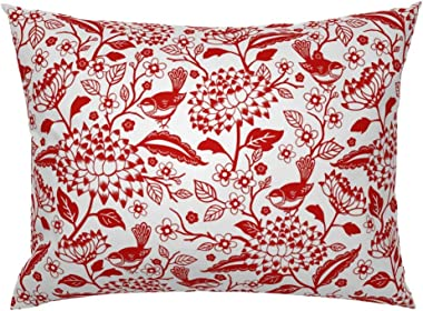 Roostery Pillow Sham, Chinoiserie Bird Garden Animal Botanical Monochromatic Red Spring Print, 100% Cotton Sateen 26in x 26in Knife-Edge Sham