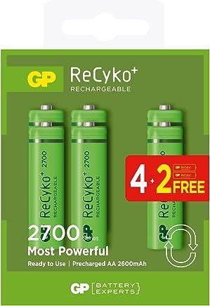 GP ReCyko+ wiederaufladbare Batterien und Ladegeräte (6 Stück Akku AA/Mignon)