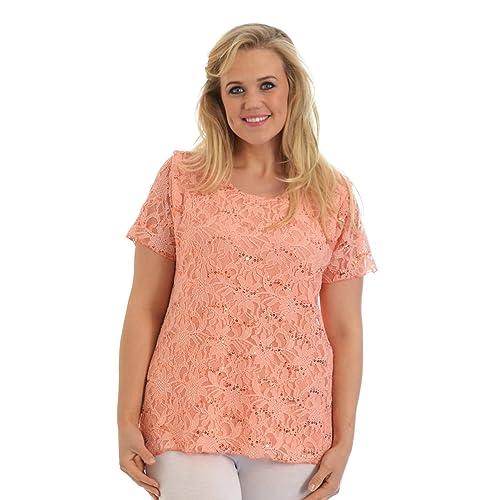 60771e7a242 Nouvelle Collection New Womens Plus Size Top Ladies Floral Lace Sequin Party  Tunic T-Shirt