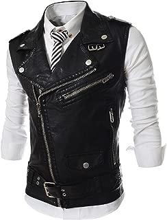 REYUY Men's Sleeveless Motorcycle Jacket Vest Faux Leather Waistcoat