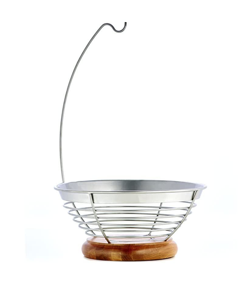 Sabatier Wire and Aacacia Wood Fruit Bowl with Banana Hanger