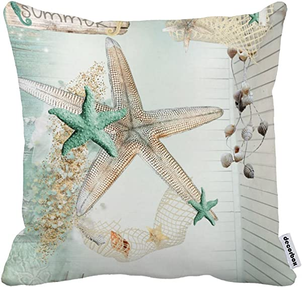 Decorbox Summer Starfish Coral Shell White 18X18 Inch Polyester Cotton Pillow Cases Blend Throw Pillow Case Covers Accent Pillows Standard Size Pillowcase Decorative Cushion Cover Cushions Cover