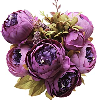 Luyue Vintage Artificial Peony Silk Flowers Bouquet Purple