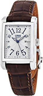 Rectangular Date Mens Classic Silver Face Swiss Watch - Luminous Hands Brown Leather Band Rectangle Automatic Dress Watch for Men 01 561 7657 4061-07 5 21 70FC