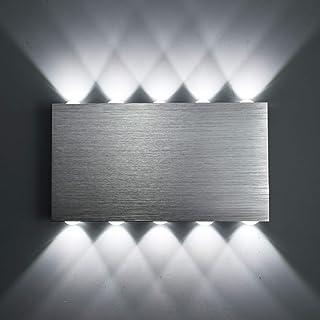 Louvra 30W Apliques de Pared Luz de Pared 3000 LM 10 LED Iluminación de Pasillo, Entrada, Dormitorio, Puro Aluminio, Blanco Frío