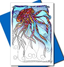 Art Eclect Adult Coloring Greeting and Thank You Note Cards with Ocean Designs (12 Cards With 12 Different Unique Designs and 12 Blue Envelopes Included, Set Under the Sea)