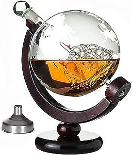 SHANGZHI Whisky Karaffe Globus Schiff Dekanter Personalisiert Segelschiff und Weltkarte Gravur 850ml Globus Bar Whiskey Karaffe Set mit Gravierte Karte Kristallgläser x2 Whiskey Geschenke für Männe