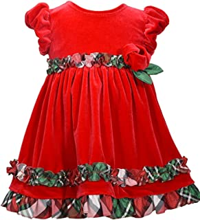 Girls Short Sleeve Red Velour Ruffle Dress