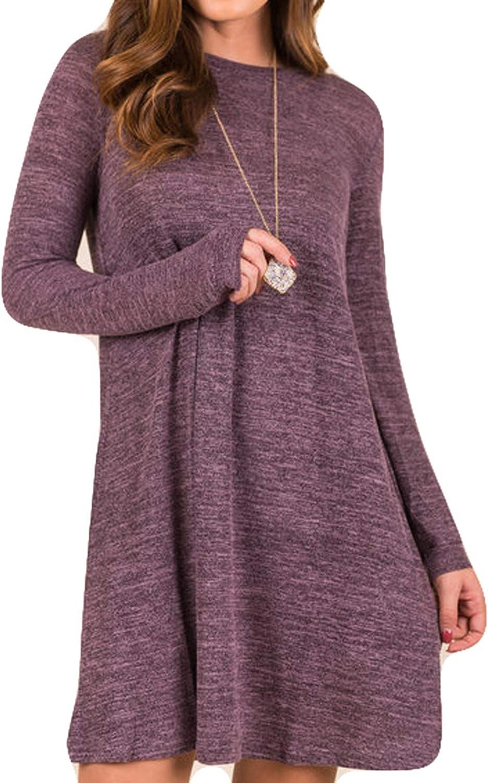 POGTMM Women's Casual Loose Knitted Basic Lightweight Swing Tunic Dress Long Sleeve Sweater Dress