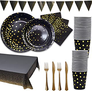 Black and Gold Party Supplies Golden Disposable Party Dinnerware Includes Paper Plates Napkins Knives Forks Cups Banner fo...