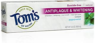 Tom's of Maine 683079 Antiplaque and Whitening Fluoride-Free Natural Toothpaste, Peppermint, 5.5 Ounce, 24 Count
