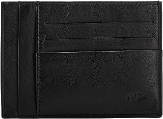 Nuvola Pelle Slim Genuine Leather Credit Card Holder Wallet Minimalist Design Cash and 6 Card Pockets Black