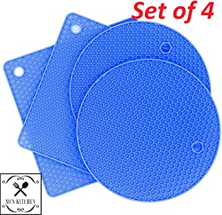 MCN Kitchen Silicone Trivets Hot Pot Pad Holders. Heat Resistant up to 450 °F Pack of 4 Round and Square (Blue)