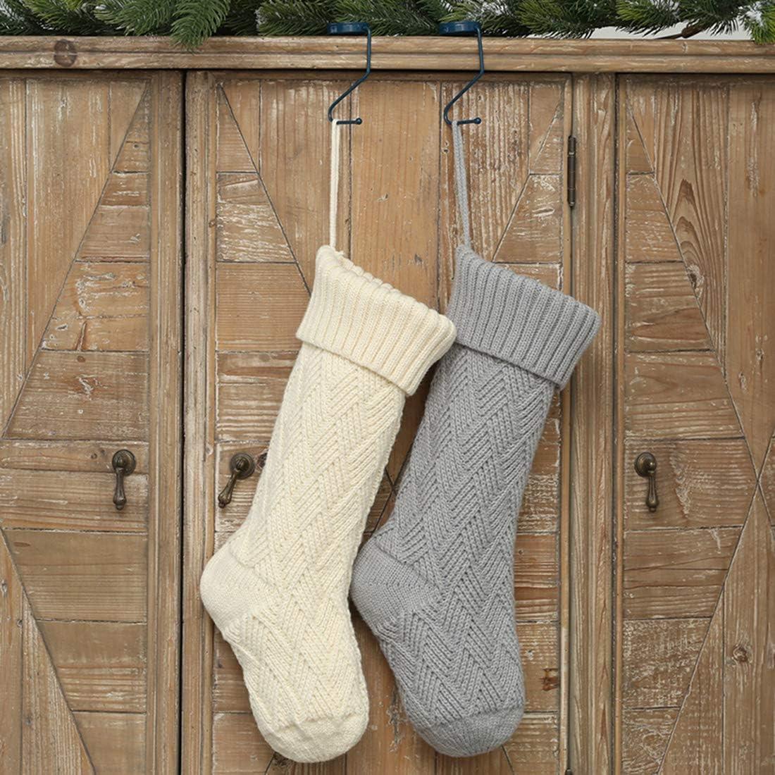4 St/ück gro/ße Gr/ö/ße Big 46cm 2 White 2 Grau Geschenk-Socken einzigartige Farbe JaosWish gestrickte Str/ümpfe Weihnachtsstr/ümpfe 46 cm Wei/ß // Rot zum Aufh/ängen