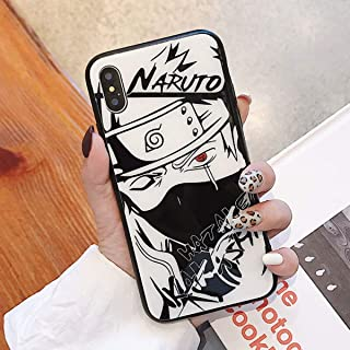 Tempered Glass Phone Case for iPhone 6 6S 7 8 Plus 10 X XR XS Max 11 11Pro 11 Pro Max Anime One Piece Luffy Naruto Kakashi Print Back Cover (6, iPhone 11 Pro Max)