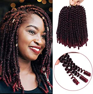 3 Pack Spring Twist Braids Ombre Colors Crochet Braids Synthetic Braiding Hair Extensions Low Temperature Fiber 8inch (T1B BUG)