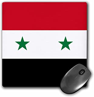 3dRose 8 x 8 x 0 25 Inches Flag of Syria Syrian Red White Black with Two Green Stars Middle East Arab Country Arabic World Mouse Pad (mp_158443_1)