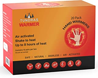 Tundras Hand Warmers 20 Count – Safe and Odorless Single Use Air Activated Heat Packs for Hands, Toes and Body - Up to 8 Hours of Heat – TSA Approved