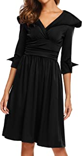 Women's 3/4 Sleeve V Neck Large Lapel Fit and Flare Empire Waist Ruched Dress Knee Length Casual Business Dresses